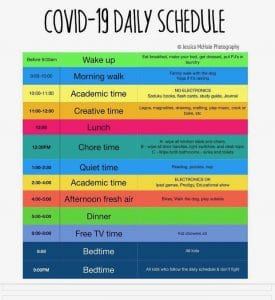 COVID-19 Daily Schedule Credit; Neuropsychology & Education Services for Children & Adolescents, nesca-newton.com