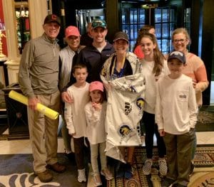 Kristin Partenza with her family after running the 2019 Boston Marathon.