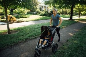 Pack lots of snacks and play games for successful stroller running.